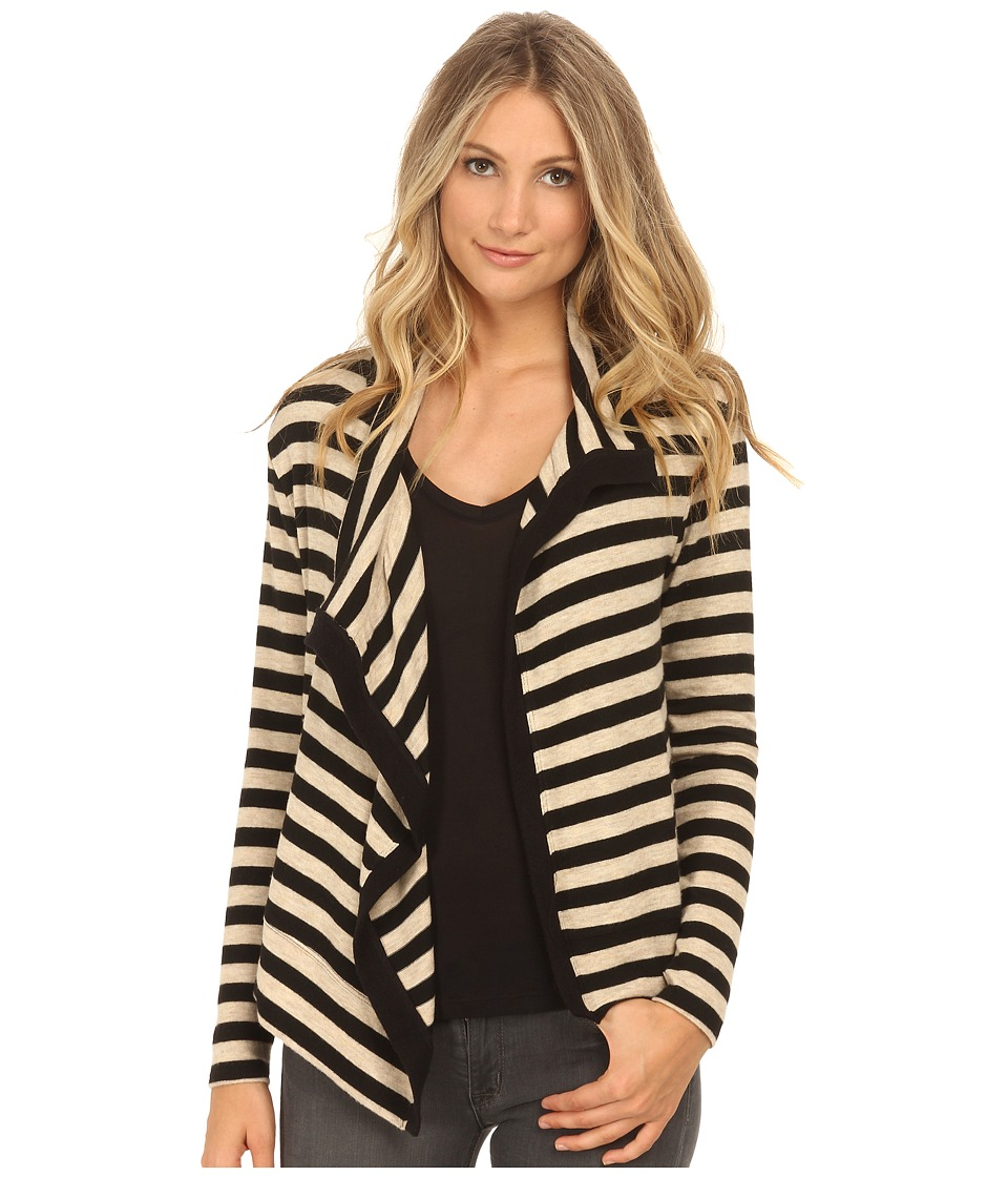 Velvet by Graham & Spencer - Violetta03 Cozy Jersey Stripe Cardigan (Oatmeal) Women's Clothing