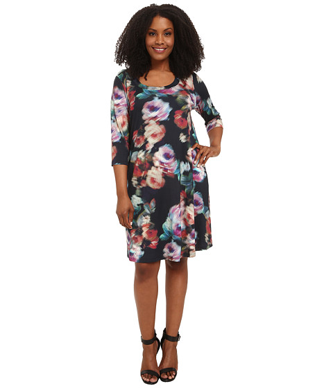 Karen Kane Plus - Plus Size Three-Quarter Sleeve T-Shirt Dress (Print) Women's Dress