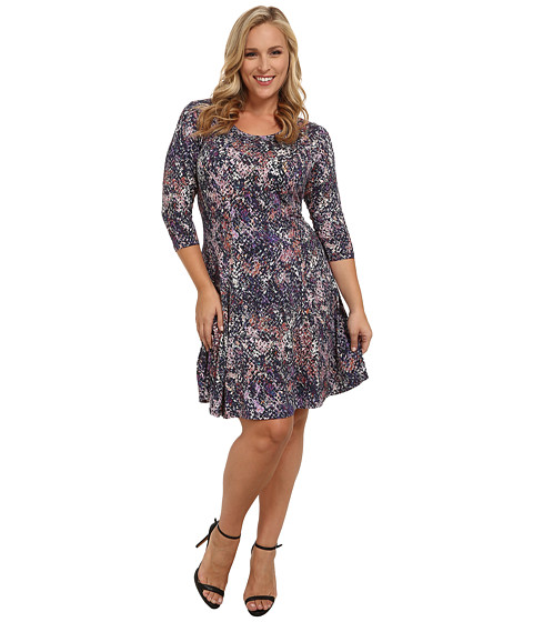 Karen Kane Plus - Plus Size Seam Detail Print Dress (Print) Women's Dress