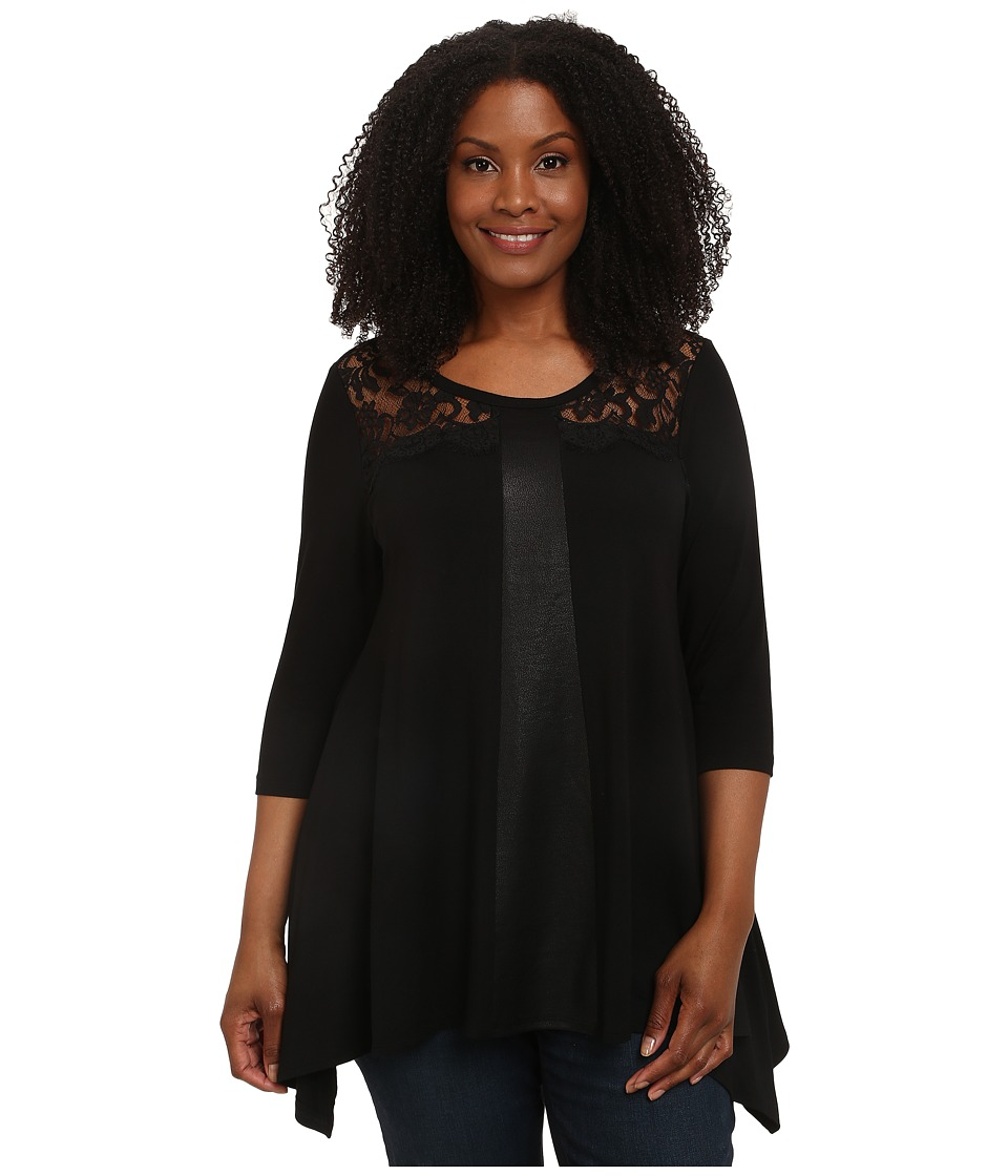 Karen Kane Plus - Plus Size Faux Leather and Lace Top (Black) Women's Long Sleeve Pullover plus size,  plus size fashion plus size appare