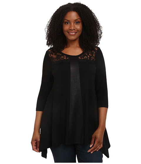 Karen Kane Plus - Plus Size Faux Leather and Lace Top (Black) Women's Long Sleeve Pullover