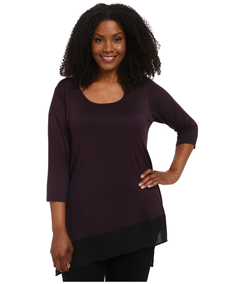 Karen Kane Plus - Plus Size Three-Quarter Sleeve Contrast Hem Tunic (Eggplant) Women's Long Sleeve Pullover