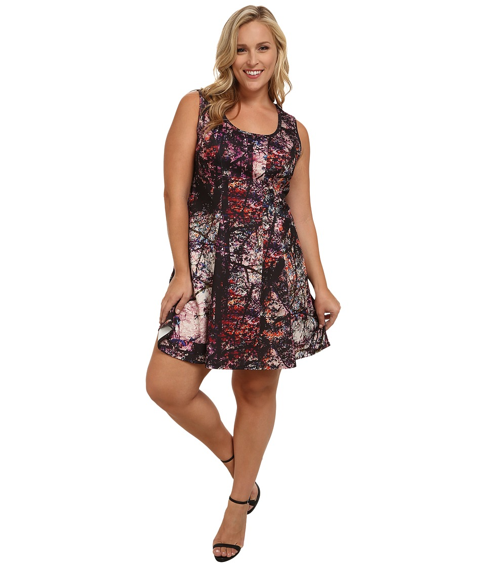 Karen Kane Plus - Plus Size Painted Forest Scuba Dress (Multicolor) Women's Dress