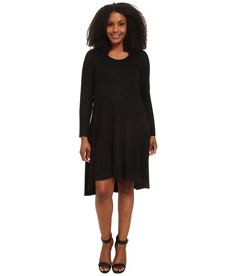 Karen Kane Plus - Plus Size Long Sleeve Hi Lo Dress (Black) Women's Dress