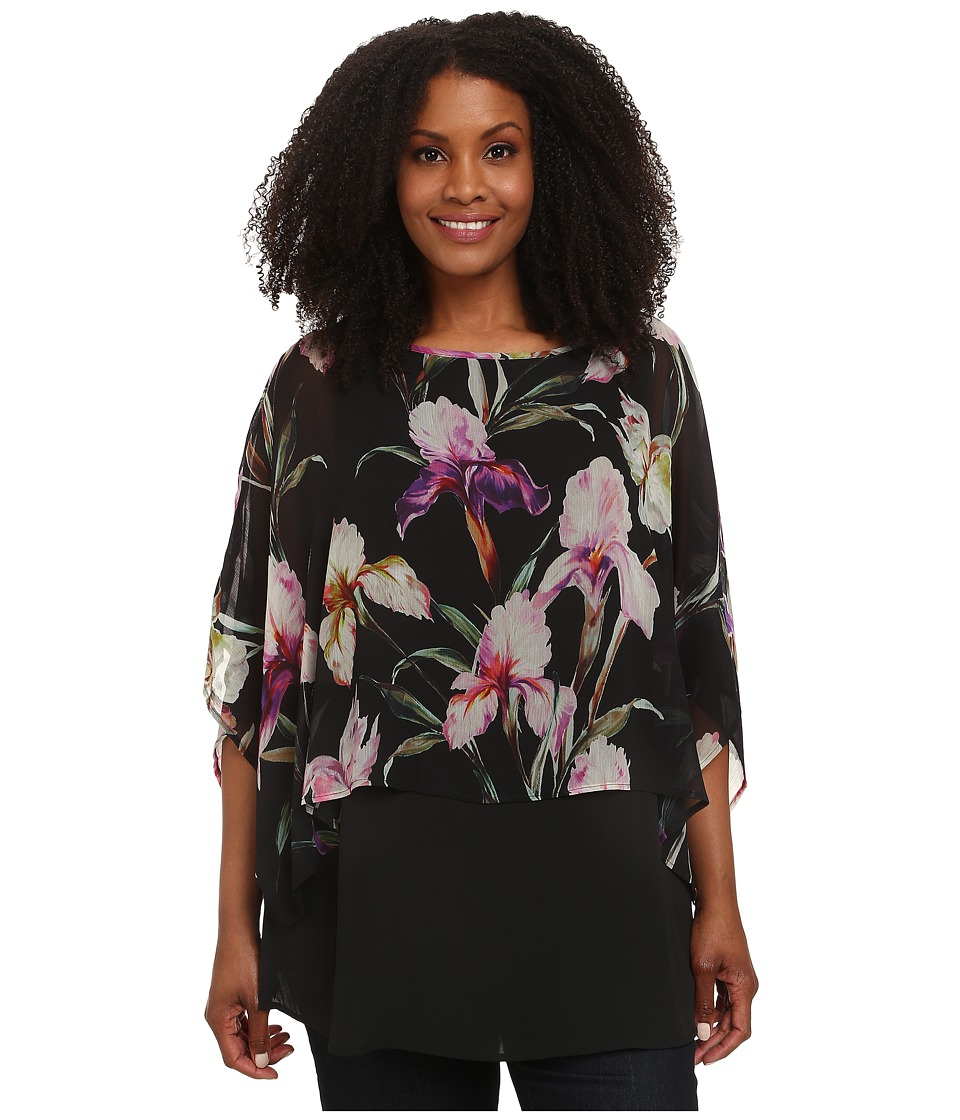 Karen Kane Plus - Plus Size Midnight Iris Double Layer Top (Print) Women's Blouse