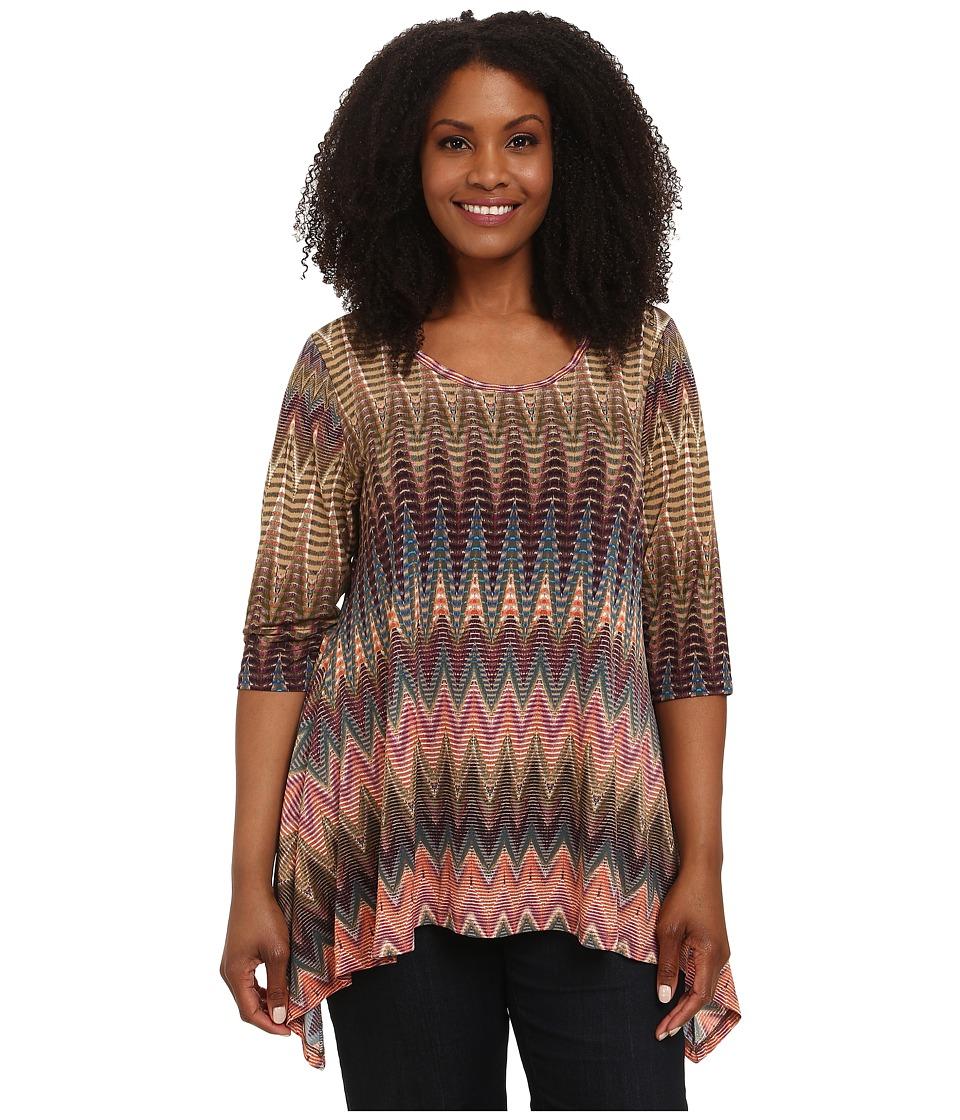 Karen Kane Plus - Plus Size Three-Quarter Sleeve Handkerchief Top (Print) Women's Long Sleeve Pullover plus size,  plus size fashion plus size appare