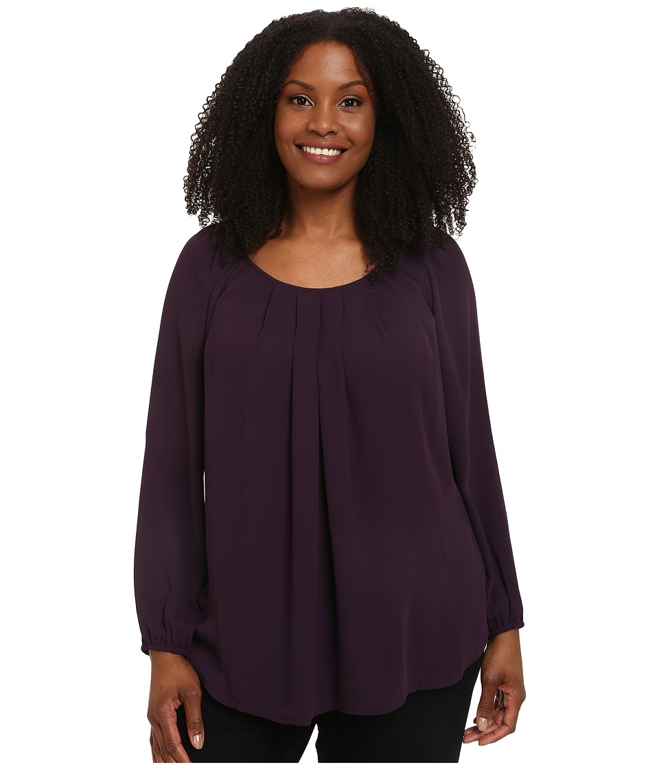 Karen Kane Plus - Plus Size Pleated Front Blouse (Eggplant) Women's Blouse