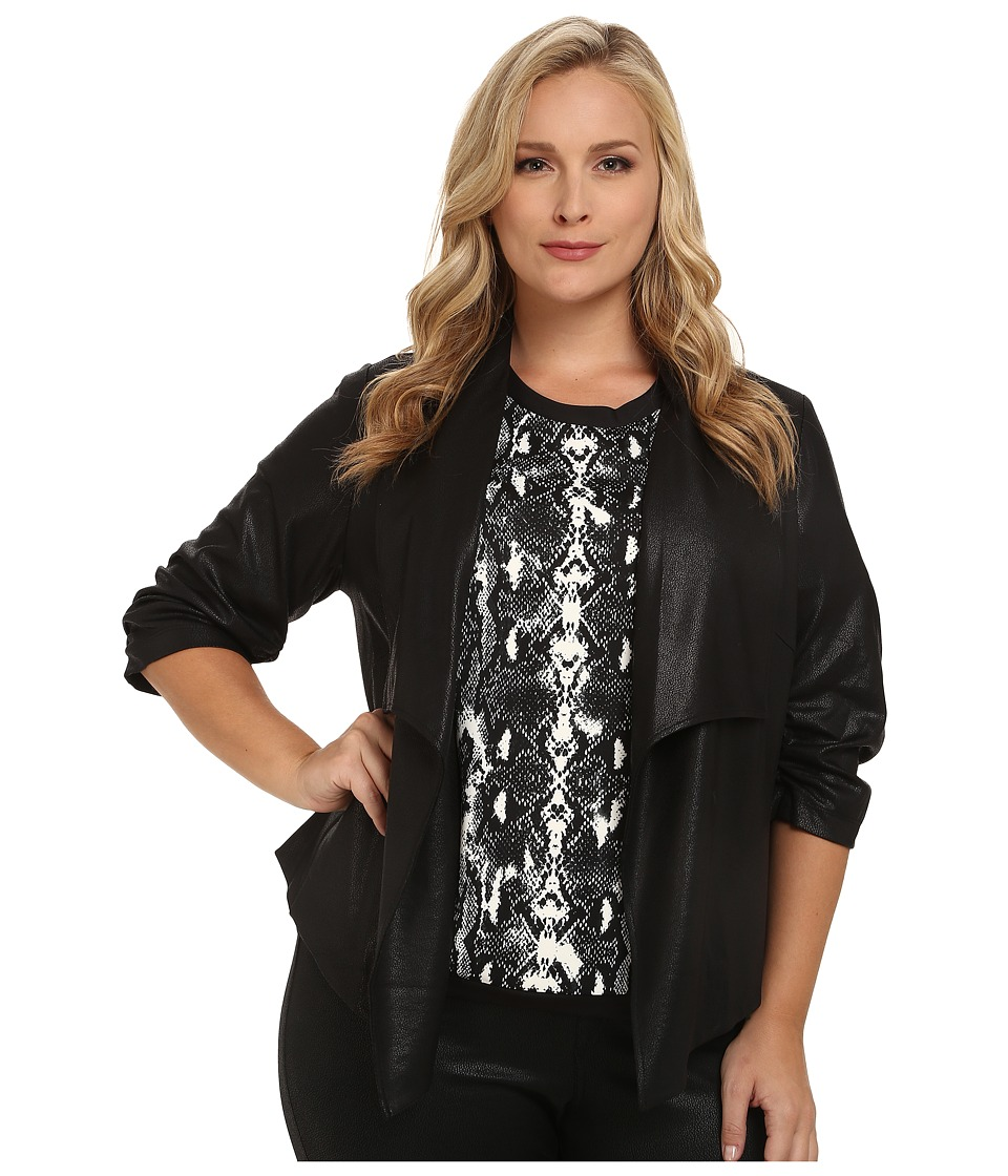 Karen Kane Plus - Plus Size Faux Leather Jacket w/ Shirred Sleeves (Black) Women's Coat