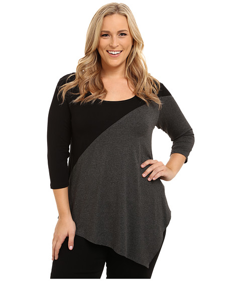 Karen Kane Plus - Plus Size Three-Quarter Sleeve Color Block Tee (Black/Heather Gray) Women