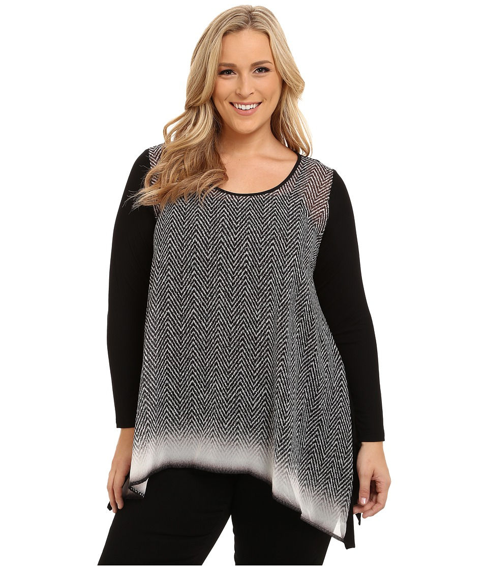 Karen Kane Plus - Plus Size Long Sleeve Handkerchief Top (Print) Women's Clothing plus size,  plus size fashion plus size appare