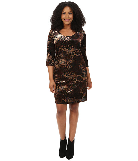 Karen Kane Plus - Plus Size Gold Dust Burnout Dress (Black/Brown) Women's Dress