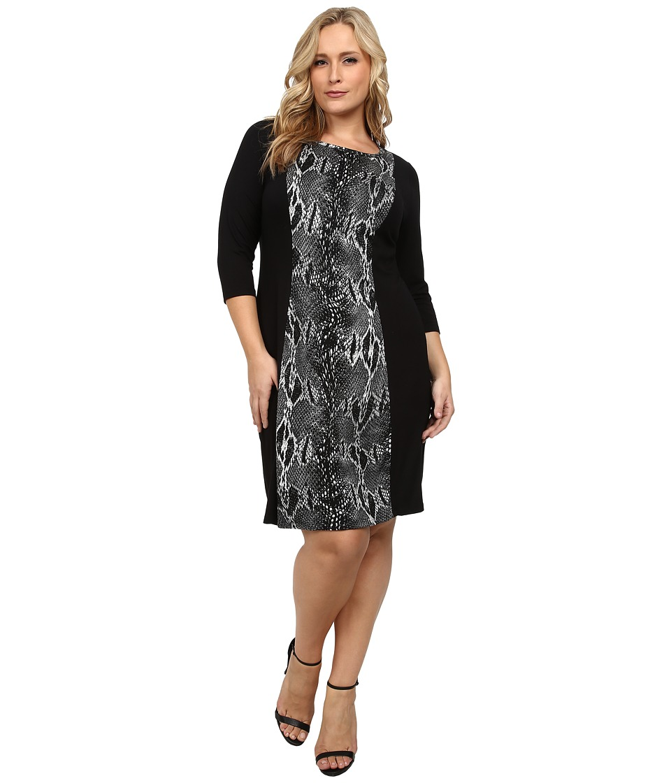 Karen Kane Plus - Plus Size Knit Panel Dress (Black/Gray) Women's Dress