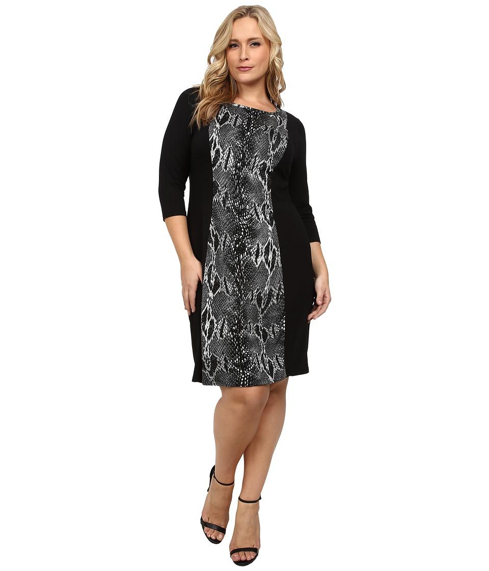 Karen Kane Plus Plus Size Knit Panel Dress (Black/Gray) Women