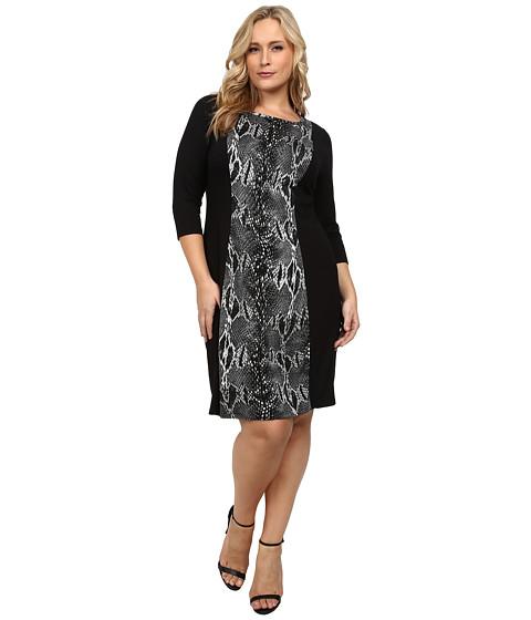 Karen Kane Plus - Plus Size Knit Panel Dress (Black/Gray) Women's Dress