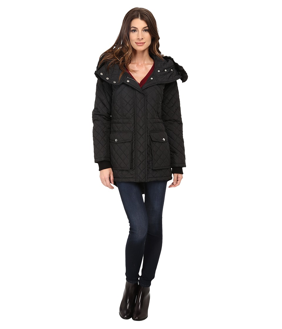 DKNY - Quilted Anorak w/ Faux Fur Split 53989-Y5 (Black) Women's Coat