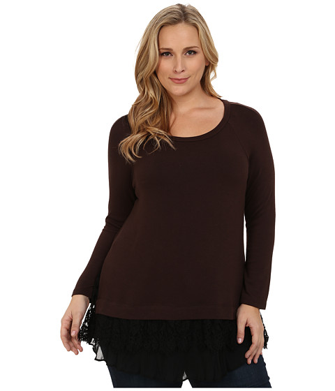 Karen Kane Plus - Plus Size Lace Inset Brown Sweater (Brown) Women