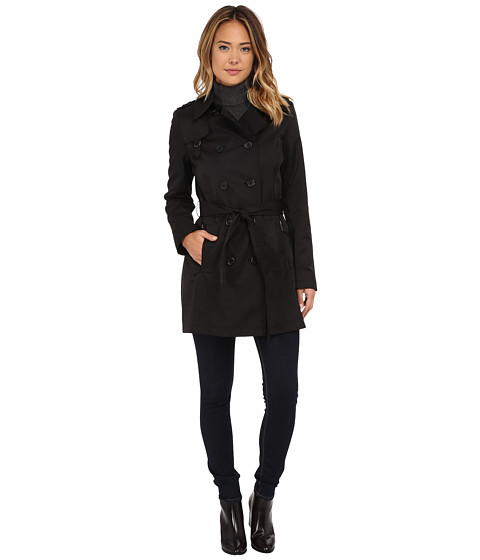 DKNY - Double Breasted Belted Trench w/ Zipper and Tab Details 06541-Y5 (Black) Women