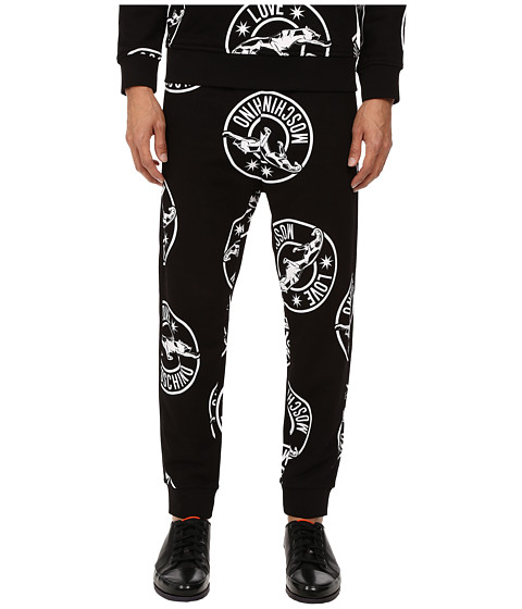LOVE Moschino - Panther Print Sweatpants (Black/White) Men