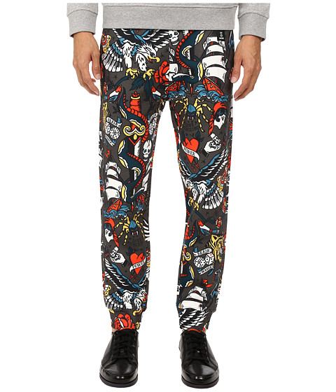 LOVE Moschino - Tattoo Print Sweatpants (Grey Multi) Men's Casual Pants