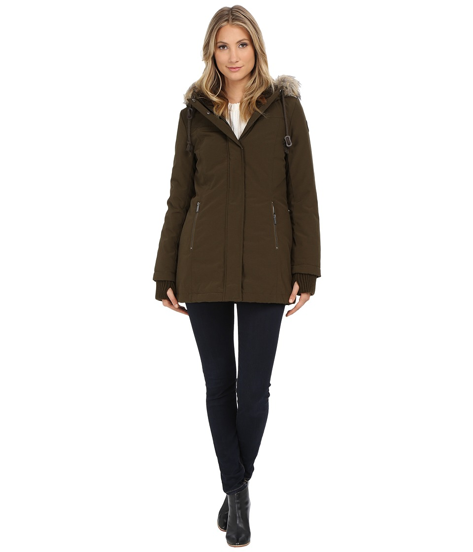 DKNY - Hooded Anorak w/ Faux Fur Collar 46503-Y5 (Olive) Women's Coat