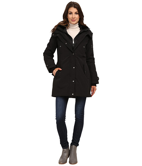 DKNY - Hooded Faux Fur Collar Parka w/ Inner Bib 46115-Y5 (Black) Women's Coat