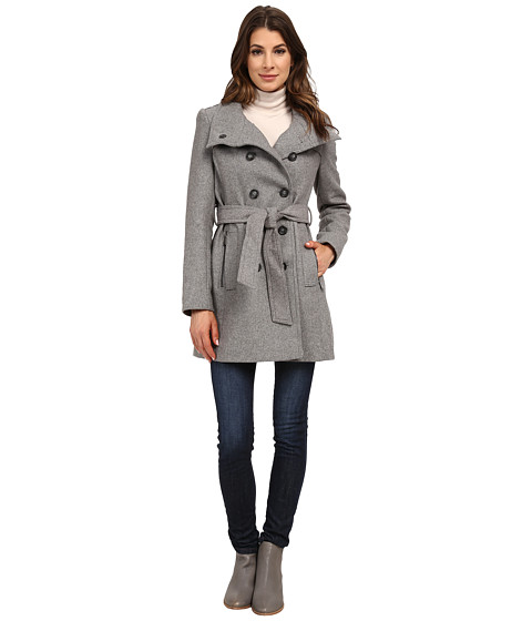 DKNY - Double Breasted Stand Collar Trench w/ Zip Pockets 13439-Y5 (Light Grey) Women's Coat
