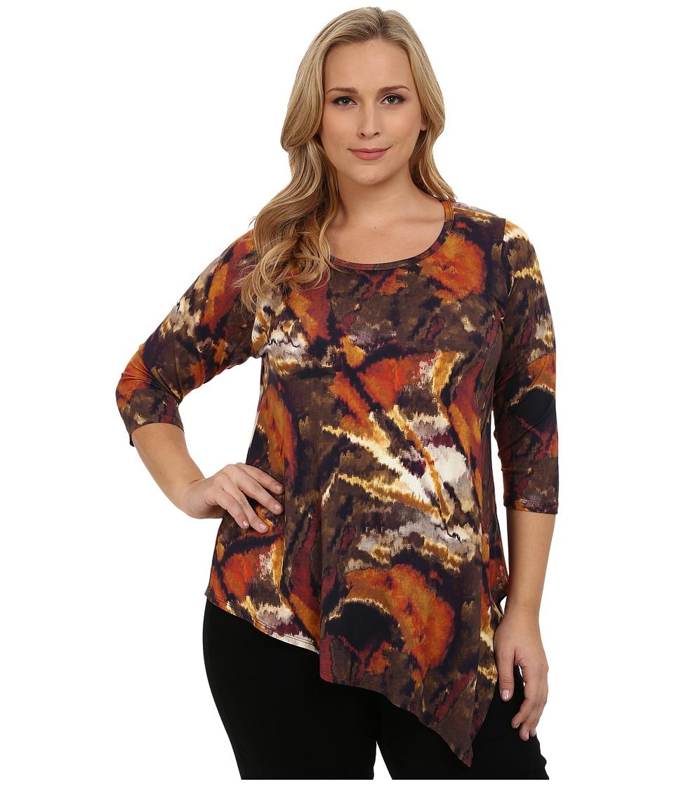 Karen Kane Plus - Plus Size Three-Quarter Sleeve Angled Hem Top (Print) Women's Clothing plus size,  plus size fashion plus size appare