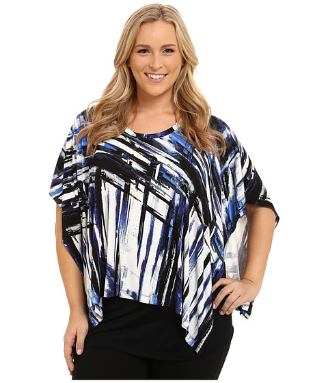 Karen Kane Plus - Plus Size Two Piece Scarf Top (Print) Women's Clothing