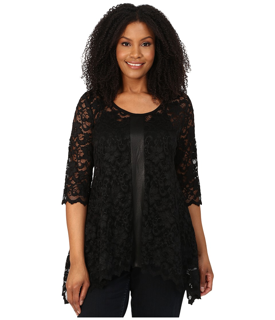 Karen Kane Plus - Plus Size Faux Leather Panel Lace Top (Black) Women's Blouse