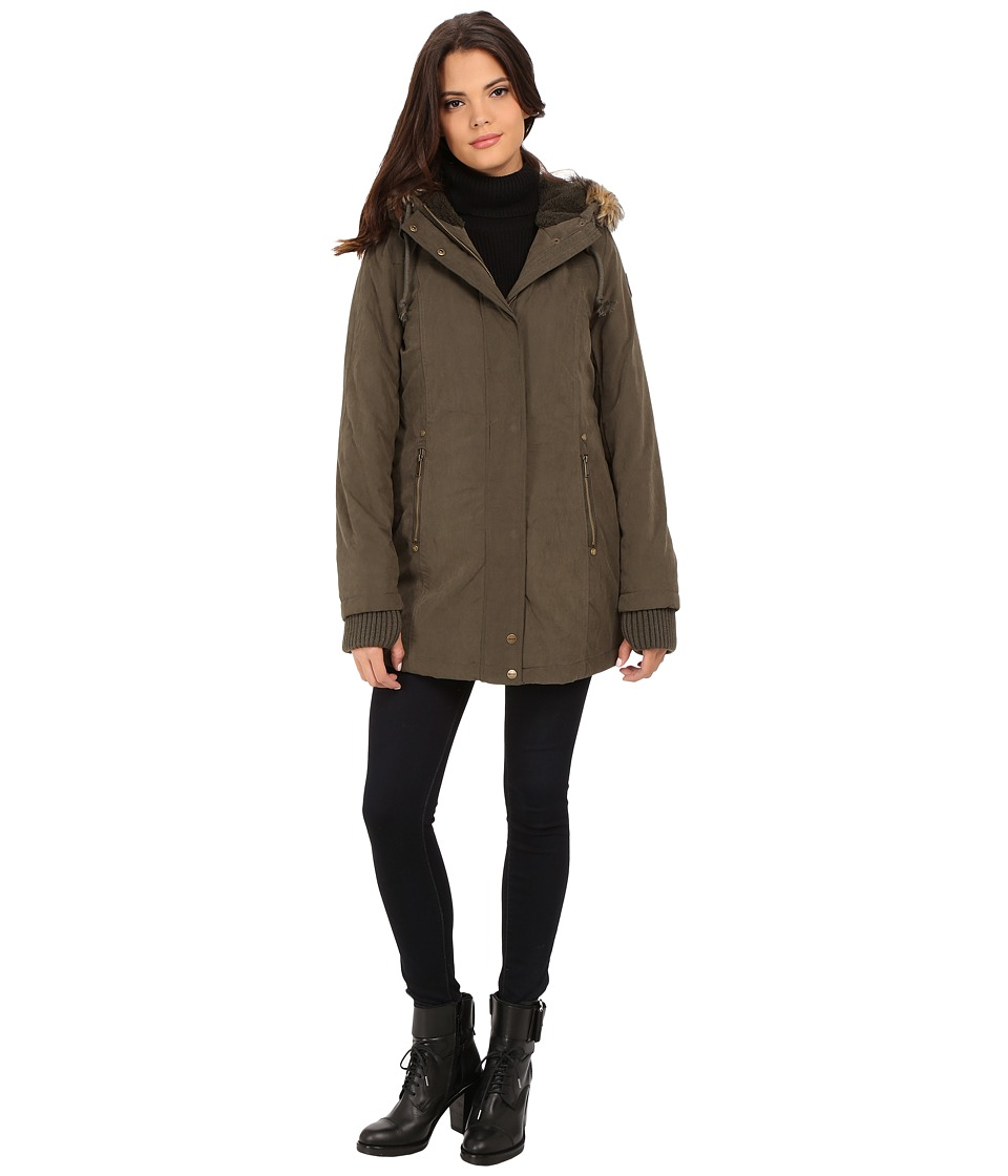 DKNY - Hooded Faux Fur Hi-Lo Fitted Parka 82503-Y5 (Loden) Women's Coat