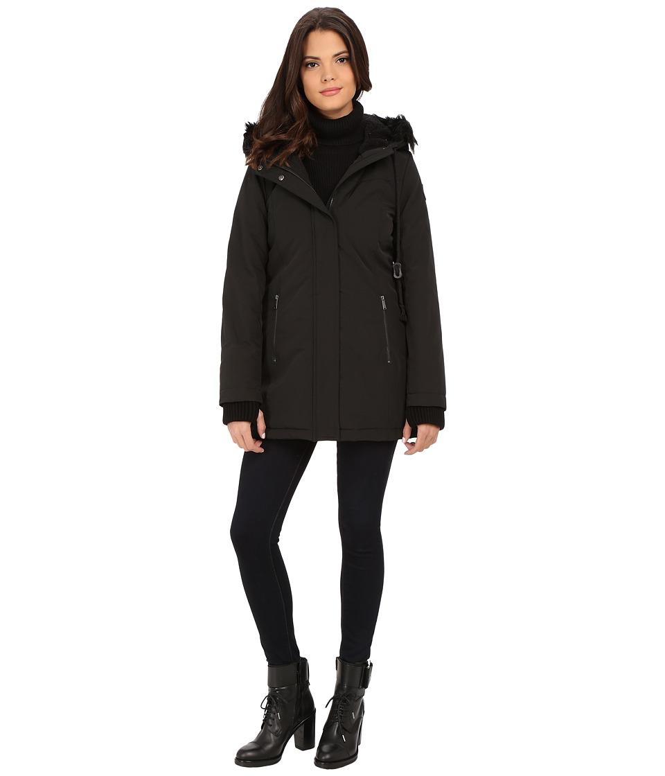 DKNY - Hooded Anorak w/ Faux Fur Collar 46503-Y5 (Black) Women's Coat
