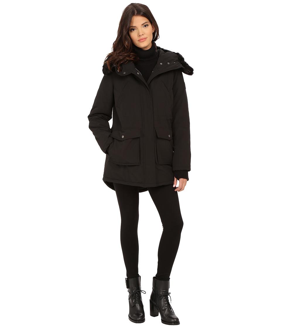DKNY - Hooded Faux Fur Anorak w/ Patch Pockets 46989-Y5 (Black) Women's Coat