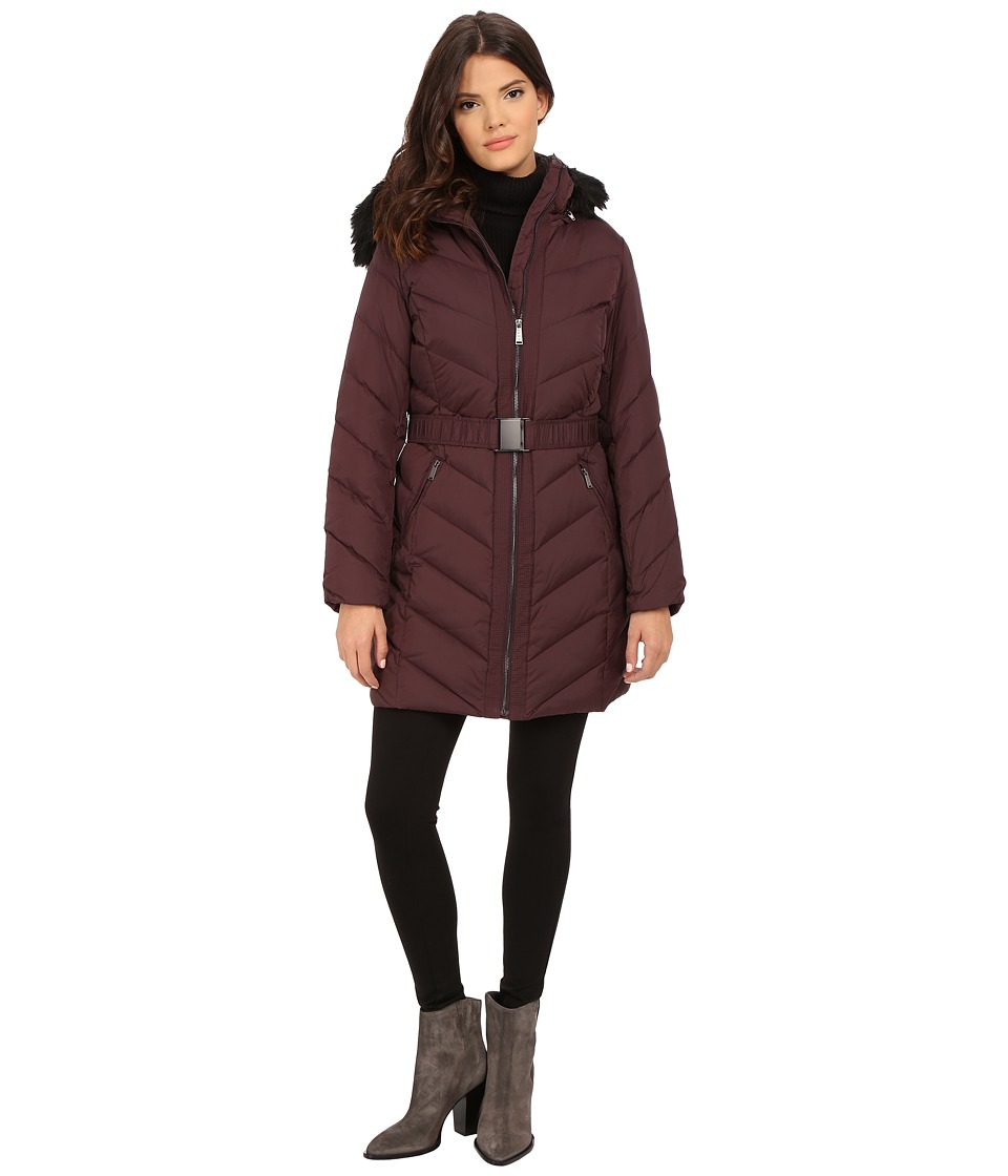 DKNY - Hooded Faux Fur Belted Down w/ Embroidered Stitch Detail 31508-Y5 (Bordeaux) Women