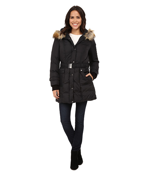 DKNY - 3/4 Down w/ Seam Detail and Faux Fur Collar 31900-Y5 (Black) Women's Coat