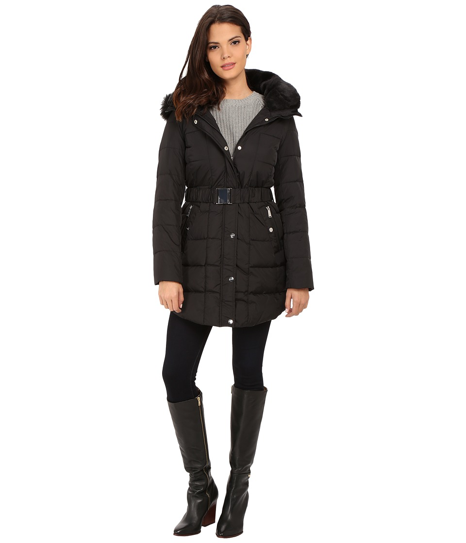 DKNY - Double Faux Fur Collar Belted Hooded Down 31359-Y5 (Black) Women's Coat