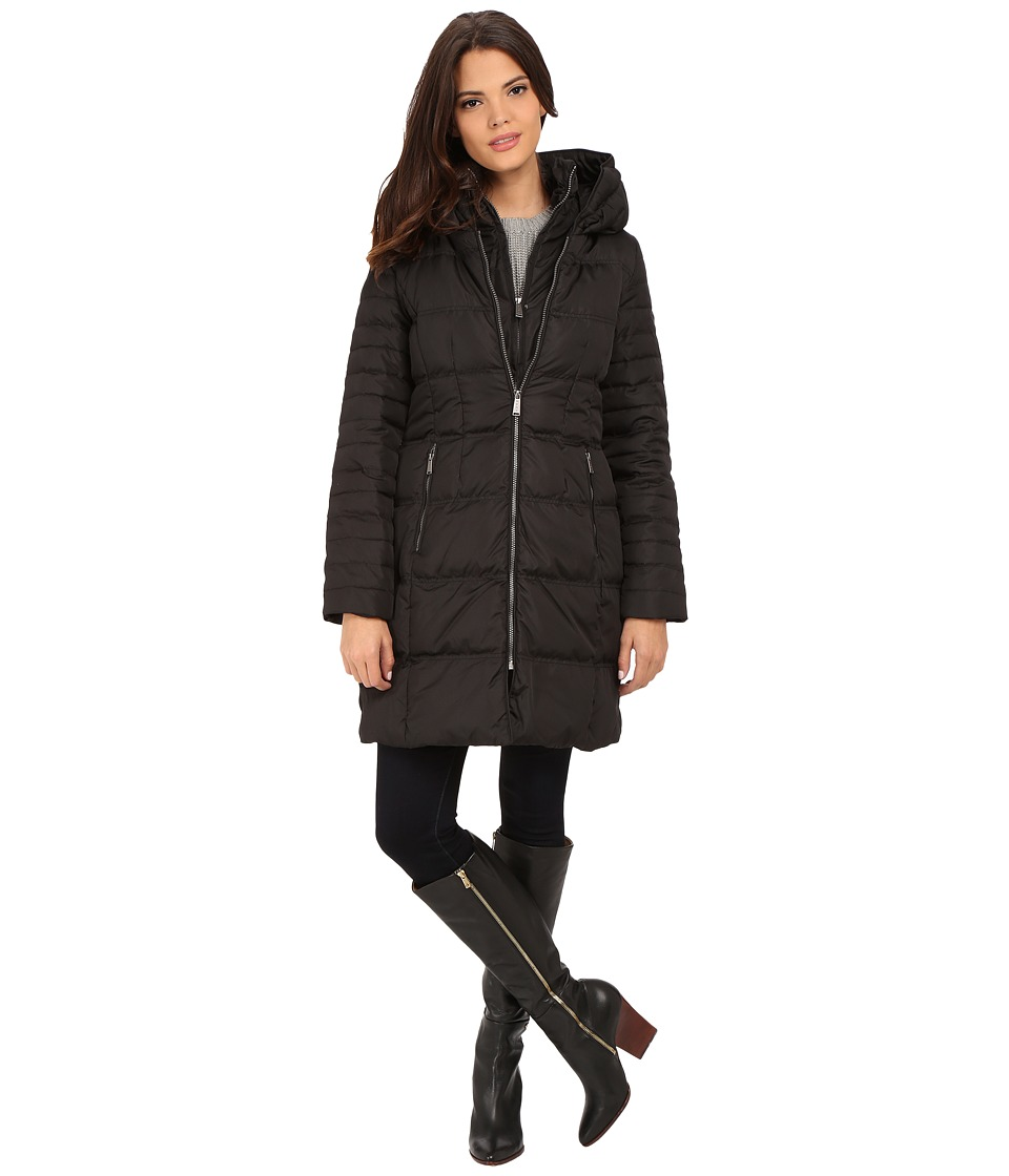 DKNY - 3/4 Hooded Pillow Collar 33983-Y5 (Black) Women's Coat