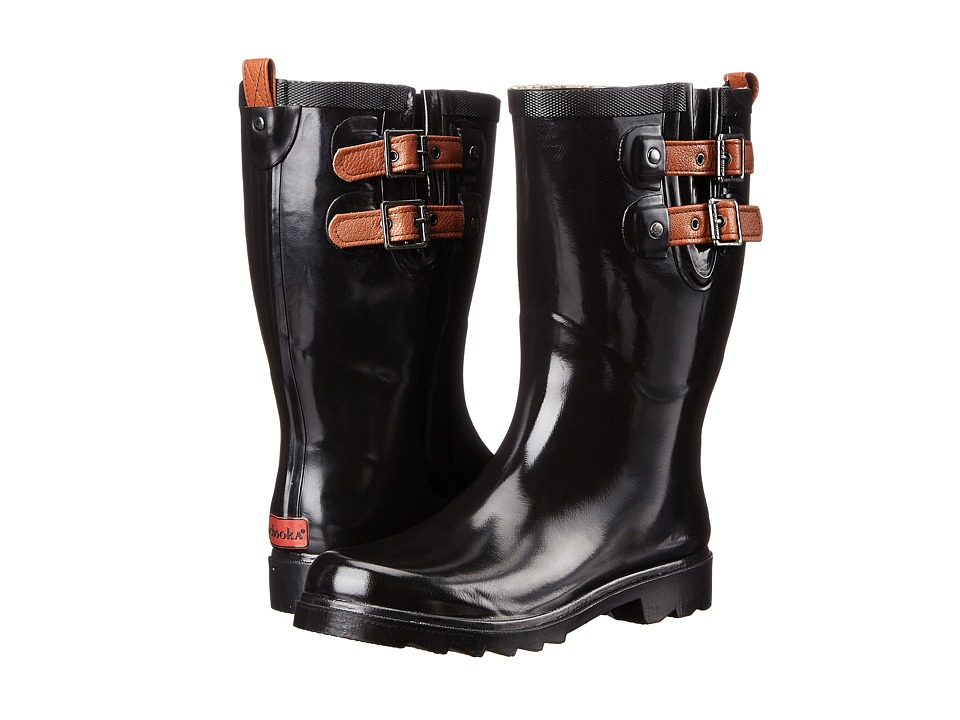 Chooka - Top Solid Dual Strap Mid (Black) Women's Rain Boots