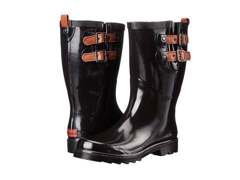 Chooka - Top Solid Dual Strap Mid (Black) Women's Rain Boots