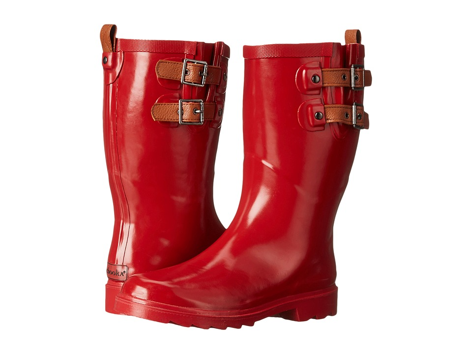 Chooka - Top Solid Dual Strap Mid (Crimson) Women's Rain Boots