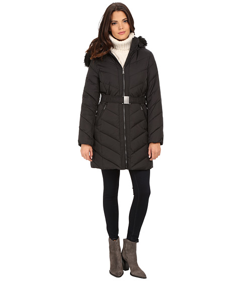 DKNY - Hooded Faux Fur Belted Down w/ Embroidered Stitch Detail 31508-Y5 (Black) Women's Coat