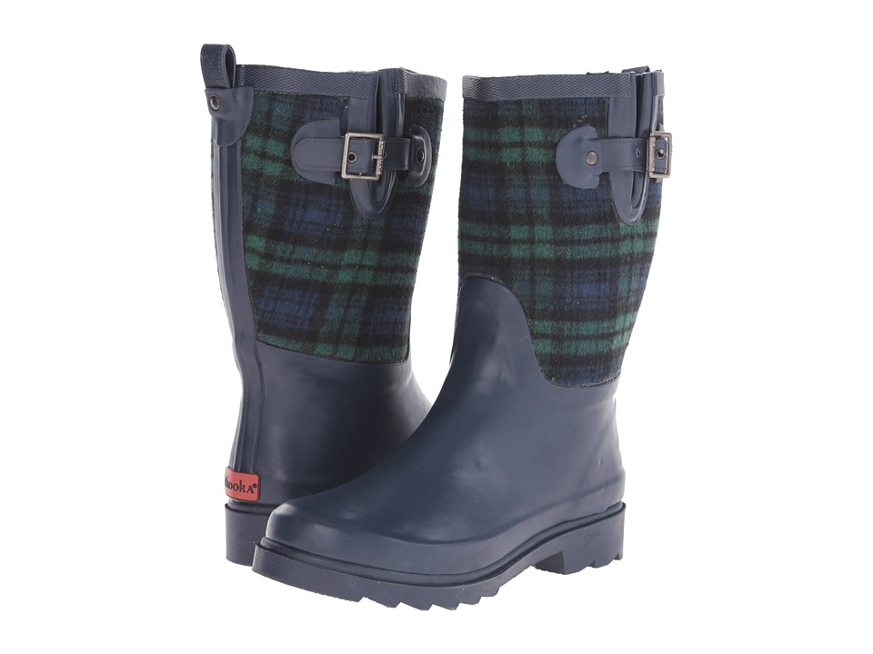 Chooka Euro Plaid Mid (Navy) Women