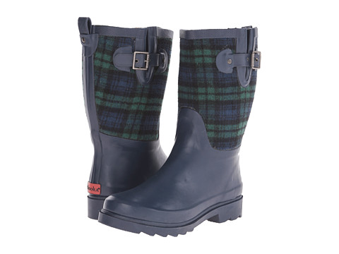 Chooka - Euro Plaid Mid (Navy) Women's Rain Boots