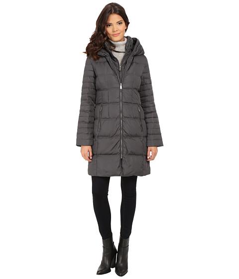 DKNY - 3/4 Hooded Pillow Collar 33983-Y5 (Steel) Women's Coat