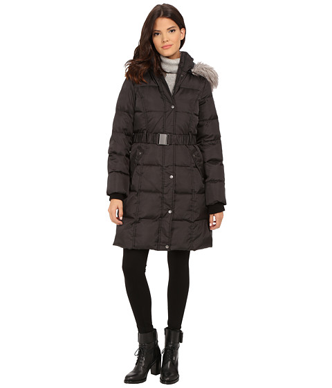 DKNY - 3/4 Quilted Down w/ Seat Belt Buckle 31926-Y5 (Black) Women's Coat