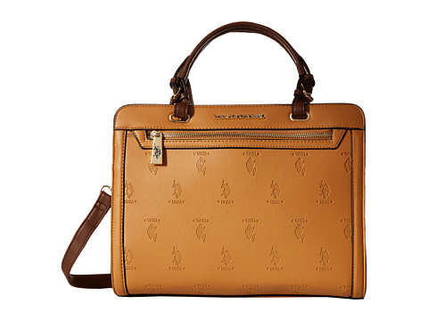 U.S. POLO ASSN. - Embossed Logo Satchel (Camel) Satchel Handbags