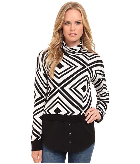 kensie - Cotton Blend Aztec Sweater KS9K5776 (Ivory Multi) Women's Sweater