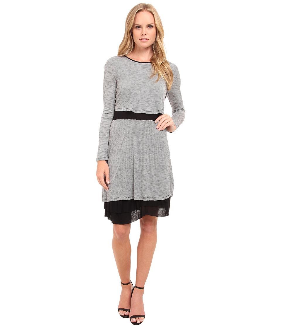 kensie Streaky Slub Knit Jersey Dress KS9K7656 (Ivory Multi) Women