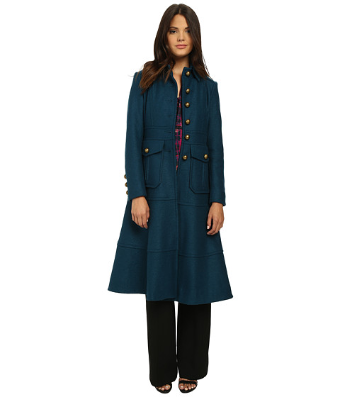 Nanette Lepore - Femme Fatale Trench Coat (Teal) Women's Coat