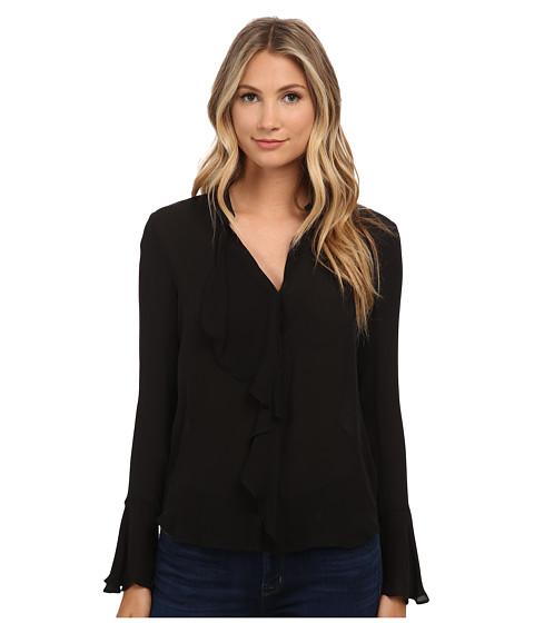 Rachel Zoe - Morse Ruffle Front Blouse (Black) Women's Blouse