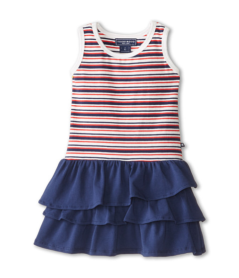 Toobydoo - French Stripe Ruffle Dress (Toddler/Little Kids/Big Kids) (Red/White/Blue) Girl